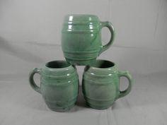 Vintage Barrel Mug Green 16 Ounce McCoy Coffee Cup Handled Mug Hull Pottery Stoneware by WesternKyRustic on Etsy