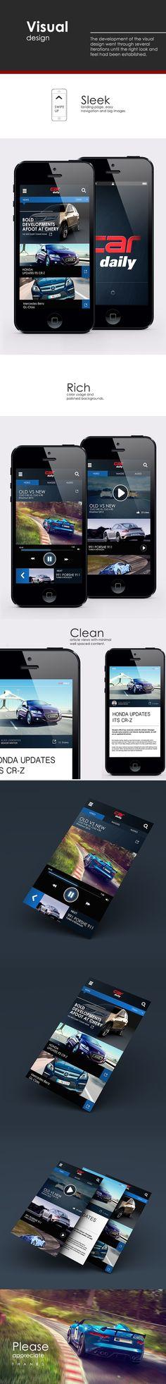 Car Daily app design by Calvin Pedzai, via Behance