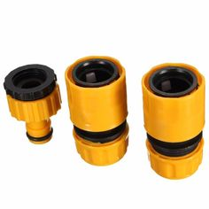 """2016 New Useful 3PC 1/2"""" 3/4'' Hose Pipe Fitting Set Quick Yellow Water Connector Adaptor Garden Lawn Tap"""