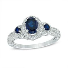 Oval Lab-Created Blue and White Sapphire Three Stone Vintage-Style Frame Ring in Sterling Silver