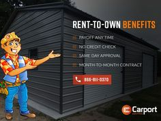 Carport Central offers a fantastic Rent-To-Own program which makes it easy for everyone to get the carport without worrying about the budget. All Steel Carports, Rv Carports, Metal Carports, Metal Garages, Carport Sheds, Carport Kits, Car Canopy, Carport Canopy, Built In Storage