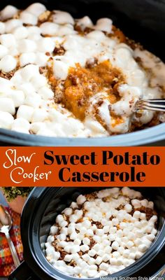 On busy oven days this mouthwatering Slow Cooker Sweet Potato Casserole is a lifesaver! Fresh cubes sweet potatoes are tossed with brown sugar, butter, fresh orange juice and pumpkin pie spice then cooked until fork tender. After a quick mash and a health Potato Recipes Crockpot, Potatoe Casserole Recipes, Slow Cooker Recipes, Cooking Recipes, Thanksgiving Recipes Crockpot, Crock Pot Yams Recipe, Corn Thanksgiving, Crockpot Side Dishes, Aloo Recipes