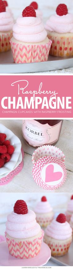 Champagne & Raspberry Cupcakes | by Lauren Kapeluck for TheCakeBlog.com