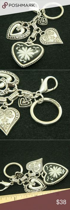 Brighton Keychain Brighton Keychain. Silver tone with 3 large heart charms and one small heart. Length: 3.5 inches.  Used item: any wear shown in pictures.  Bundle Up!  Offers always welcome :) Brighton Accessories Key & Card Holders