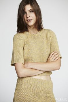 Midweek one's conscience awakes! Wear this sunny knit now and smile all day.Kel Markey wearing a Organic by John Patrick cashmere pullover, $485For information: organicbyjohnpatrick.com Organic by John Patrick skirt