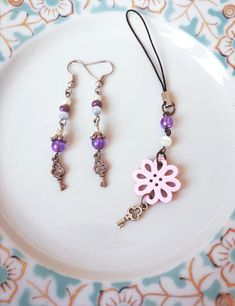 Earrings Princess & zipper Keychain bag charm for young girl