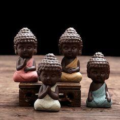 small Buddha statue monk figurine tathagata India Yoga Mandala tea pet purple ceramic crafts Zakka decorative ceramic ornaments [Affiliate]