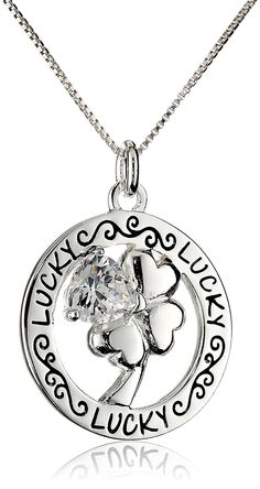 "Sterling Silver Circle ""Lucky"" Four Leaf Clover with Heart Shaped Cubic Zirconia Pendant Necklace, Washer Necklace, Pendant Necklace, Four Leaf Clover, Heart Shapes, Sterling Silver, Detail, Charm Bracelets, Earrings, Charms"