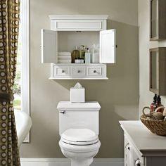 White Bathroom, Master Bathroom, Bathroom Cabinets Over Toilet, Over The Toilet Cabinet, Cabinets For Bathrooms, Bathroom Storage Cabinets, Restroom Cabinets, Bathroom Renovations, Small Bathroom Storage