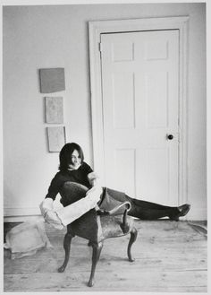 'Eva Hesse - Jan. 11, 1936 - 1970 (cancer)…  German-born American sculptor, known for her pioneering work in materials such as latex, fiberglass, and plastics.  Photo: Hesse with a sleeve sculpture http://www.pinterest.com/hcrownfi/eva-hesse/