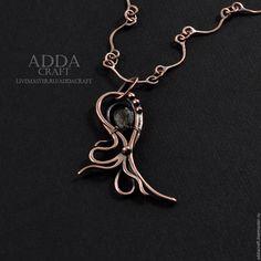 Купить Подвеска из меди и кварца Octopus - серый, медь, медь патинированная, медная проволока