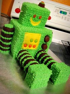 Green Robot Cake - could make out of rice crispie treats instead of cake maybe