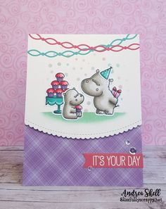 """By Andrea Shell. Stamps from """"Happy Hippos"""" by My Favorite Things. Directions on her website."""