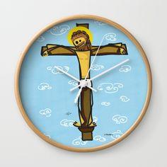 Jesus smiling Wall Clock #funny #artwork #drawing #art #thesbirù #comic #cartoon #puppet #society6 #society6art #artprint #mug #tshirt #duvet #pillow #shopart #children #joy #child #fun, #humor #happiness #childhood #smile #kid #illustration