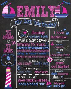 First Birthday Chalkboard  Nautical Birthday by PinknPurplePress