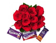 My Heart Bunch of 12 Red Roses in cellophane packing with red ribbon bow with 3 Cadbury Chocolates ( 38gm Cadbury Dairy Milk, 42gm Cadbury Fruit N Nuts, 65gm Cadbury Silk)