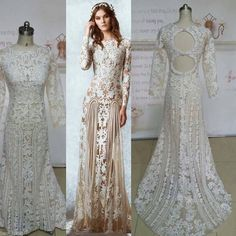 Wedding Feather Dress Click To Buy Luxurious Lace Pattern Hollow A Line Full Sleeve