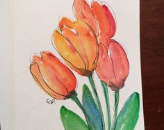 Spring Tulips Card / Hand Painted Watercolor Card by gardenblooms Watercolor Sunflower, Watercolor Cards, Watercolor And Ink, Watercolour Painting, Watercolor Flowers, Painting & Drawing, Watercolors, Tulip Painting, Paint Cards