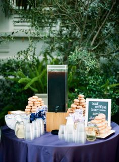 Donut & iced coffee bar. Photography By / esthersunphoto.com, Wedding Planning Design By / fresheventscompany.com, Floral Design By / ixoraflorist.com