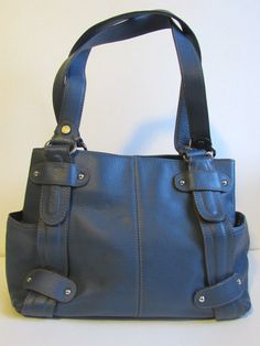 cbee1dc30d Tignanello Satchel Handbag Medium Size Cornflower Blue Leather compartments  GRUC