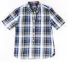 Superdry NEW Blue Gray Mens Size XL Plaid Print Button Down Shirt $76 #210