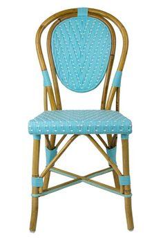 Paint the cane chair like this? Azure & White Mediterranean Bistro Chair