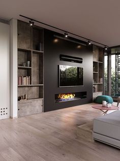 Modern and attractive TV wall design. kamin Modern and attractive TV wall design. Living Room Tv, Living Room With Fireplace, Living Room Modern, Home And Living, Tv Wall Ideas Living Room, Living Room Speakers, Wall Cabinets Living Room, Fireplace Tv Wall, Fireplace Design