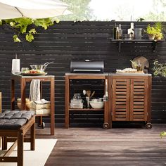 Beyond the Barbecue: 15 Streamlined Kitchens for Outdoor Cooking Ikea Outdoor Kitchen with Applaro Klasen Grill Cart and Cabinet. Ikea Outdoor, Outdoor Stools, Outdoor Dining, Outdoor Spaces, Outdoor Decor, Ikea Patio, Outdoor Photos, Dining Area, Outdoor Lighting