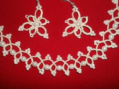 Bridal Tatting  Frivolite Necklace and Earrings by carmentatting, $40.00