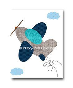 Plane Nursery Baby Boy Nursery Decor Baby nursery by artbynataera, $14.00