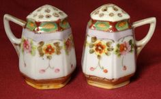 They have Van Pattens Nippon mark on bottoms. Mark on one of shakers is hard to read. Salt And Pepper Set, Kitchen Collection, Kitchen Shelves, Salt Pepper Shakers, Antique Shops, Tart, Kitchens, Hand Painted, Dishes
