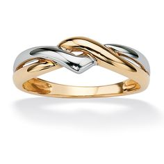 PalmBeach 10k Two-tone Gold Twist Ring Tailored | Overstock.com Shopping - The Best Deals on Gold Rings