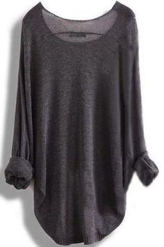 Women's Stylish Scoop Neck Asymmetrical Long Sleeve Sweater Sweaters & Cardigans   RoseGal.com Mobile