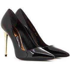 Tom Ford Patent Leather Pumps ($870) ❤ liked on Polyvore featuring shoes, pumps, black, tom ford, black shoes, kohl shoes, black pumps and black patent shoes