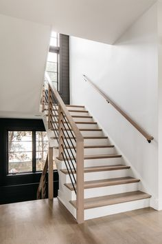 Modern Farmhouse Staircase White Oak staircase Metal Baluster Horizontal Baluster Stair newels are stained to match floors 50% Country White 50% Classic Gray by Minxwax Balusters Horizontal metal balusters Modern Farmhouse Staircase White Oak staircase Metal Baluster Horizontal Baluster Stair newel Modern Farmhouse Staircase White Oak staircase Metal Baluster Horizontal Baluster Stair newel Modern Farmhouse Staircase White Oak staircase Metal Baluster Horizontal Baluster Stair newel… Staircase Metal, Stair Railing, Stairs, Modern Farmhouse, Farmhouse Style, Farmhouse Decor, Metal Balusters, Farm H, White Oak
