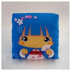 """Kawaii Girl, Girls Pillow, Geisha Pillow, Blue Pillow, Japanese, Kokeshi Doll, Childrens Pillow, Throw Pillow, Girls Room Decor, 7 x 7"""""""
