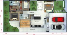 Planta de casa moderna com 2 quartos - Projetos de Casas, Modelos de Casas e Fachadas de Casas Contemporary Chandelier, Contemporary Sofa, Shed Plans, House Plans, Patio Interior, Granny Flat, Apartment Plans, Bathroom Kids, House Entrance