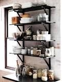 ikea shelves for open kitchen Ikea Kitchen, Kitchen Shelves, Kitchen Dining, Kitchen Decor, Open Shelves, Black Shelves, Kitchen Storage, Kitchen Organization, Storage Shelving