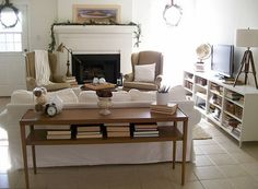 sofa table the tv stand is composed of two ikea shelving units with legs from lowes painted white