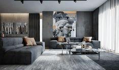 Luxus-Wohnung im Behance - Apartment Furniture, Apartment Interior, Interior Design Living Room, Living Room Designs, Living Room Decor, Living Spaces, Bedroom Furniture, Luxury Home Decor, Luxury Interior