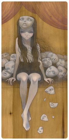 by Audrey Kawasaki This is how I feel a lot of the time. Just put on another mask. Art And Illustration, Arte Obscura, Arte Pop, Pop Surrealism, Dark Art, Art Inspo, Amazing Art, Fantasy Art, Creepy