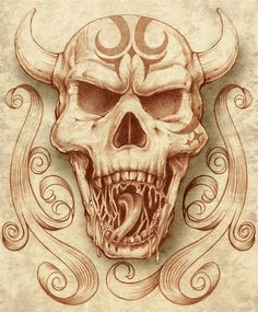 sketch of a horned devils skull. that has tribal markings on it. Realistic Drawings, Paint By Number, Make Art, Skulls, Coloring Books, Art For Kids, Sketch, Creatures, Illustrations