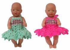 Gratis haakwerkje voor de kleinste (11 cm) Baby Born Sewing Doll Clothes, Crochet Doll Clothes, Sewing Dolls, Doll Clothes Patterns, Clothing Patterns, Baby Born, Flower Girl Dresses, Summer Dresses, Haken Baby