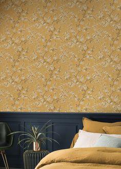 RW334 - Ryan Wallcoverings Ltd - Wallpaper and Wooden Curtain Poles online Mustard Bedroom, Wooden Curtain Poles, Modern, Contemporary, Bedroom Inspo, Wallpaper Roll, Shag Rug, Ikea, Curtains