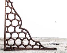 Antique Cast Iron Metal Shelf Bracket, Victorian, Filigree, Metal Shelf Bracket, Geometric Pattern, Hexagonal