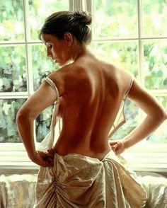 Artist: Rob Hefferan, realist {contemporary artist figurative realism beautiful female discreet semi-nude woman posterior back painting} <3 Tempting !!