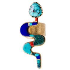 Verma Nequetewa Sonwai Turquoise Lapis Coral Gold Snake Ring | From a unique collection of vintage cocktail rings at https://www.1stdibs.com/jewelry/rings/cocktail-rings/