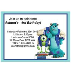 Monsters inc  Birthday  Party  Invitation  by LuLuLoLa2022 on Etsy, $4.85