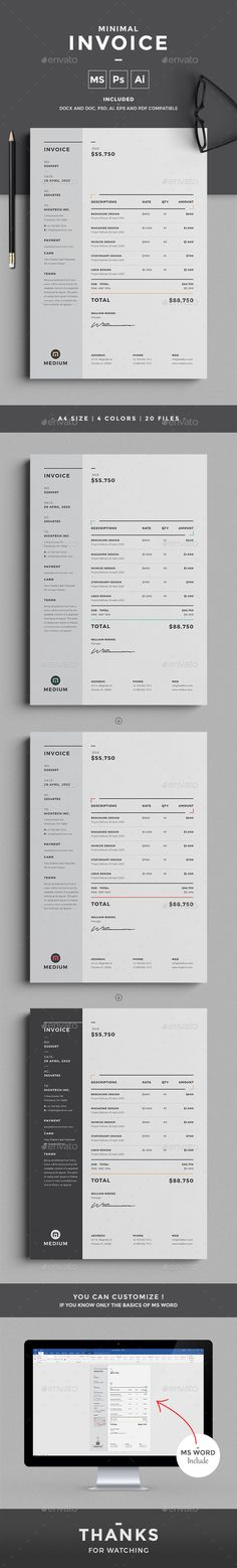 Minimal Invoice - Proposals & Invoices Stationery