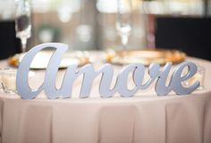 Amore Table Sign for a Ultra Romantic Sweetheart Table Setting | Unique Table Signs and Event Decor, Gifts & Accessories at www.ZCreateDesign... or ZCreateDesign on Etsy and Amazon Handmade